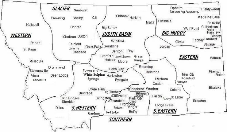 Montana FFA Districts and Chapters Map